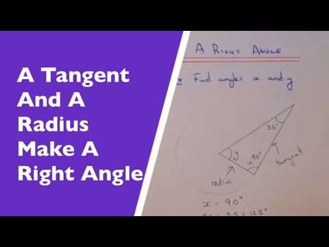 A Tangent And A Radius Make A Right Angle At The Point Of Contact (Circle  Theorem Example)