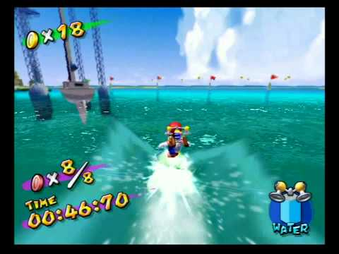Super Mario Sunshine (GC) Shine Sprite 19 - Ricco Harbor - Red Coins on the Water