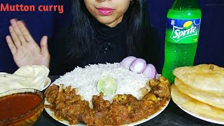 Eating Spicy Mutton Curry With Basmati Rice & Puri/Luchi|Indian Food Mukbang | Food Lover Puja