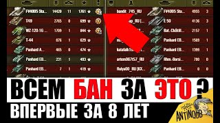 ЗА ЭТОТ БОЙ ЗАБАНИЛИ ВСЕХ 30 ИГРОКОВ?!! ВПЕРВЫЕ ЗА 8 ЛЕТ ИГРЫ World of Tanks!
