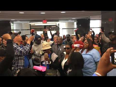 Protesters crowd governor's office, demand bottled water for Flint