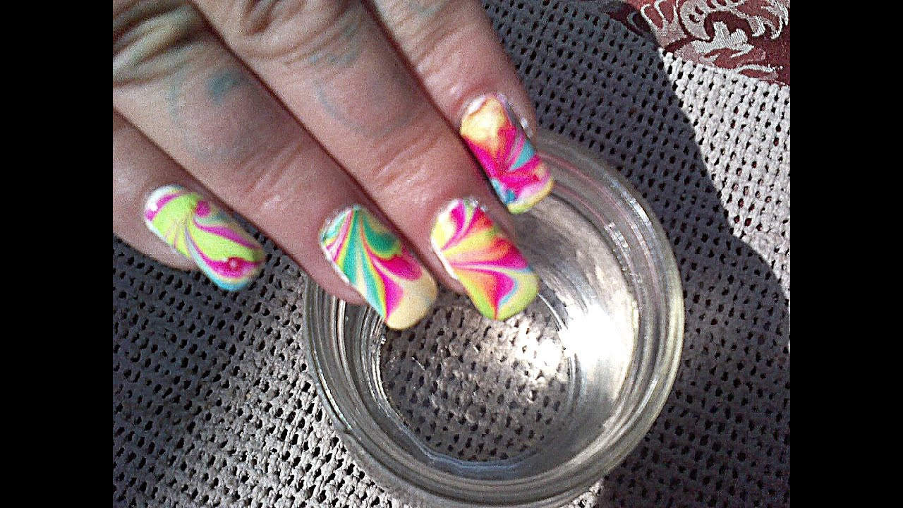 Water Marbling - 3 MIN Nail Art Tutorial - Tie-Dye Nails By Fonda ...