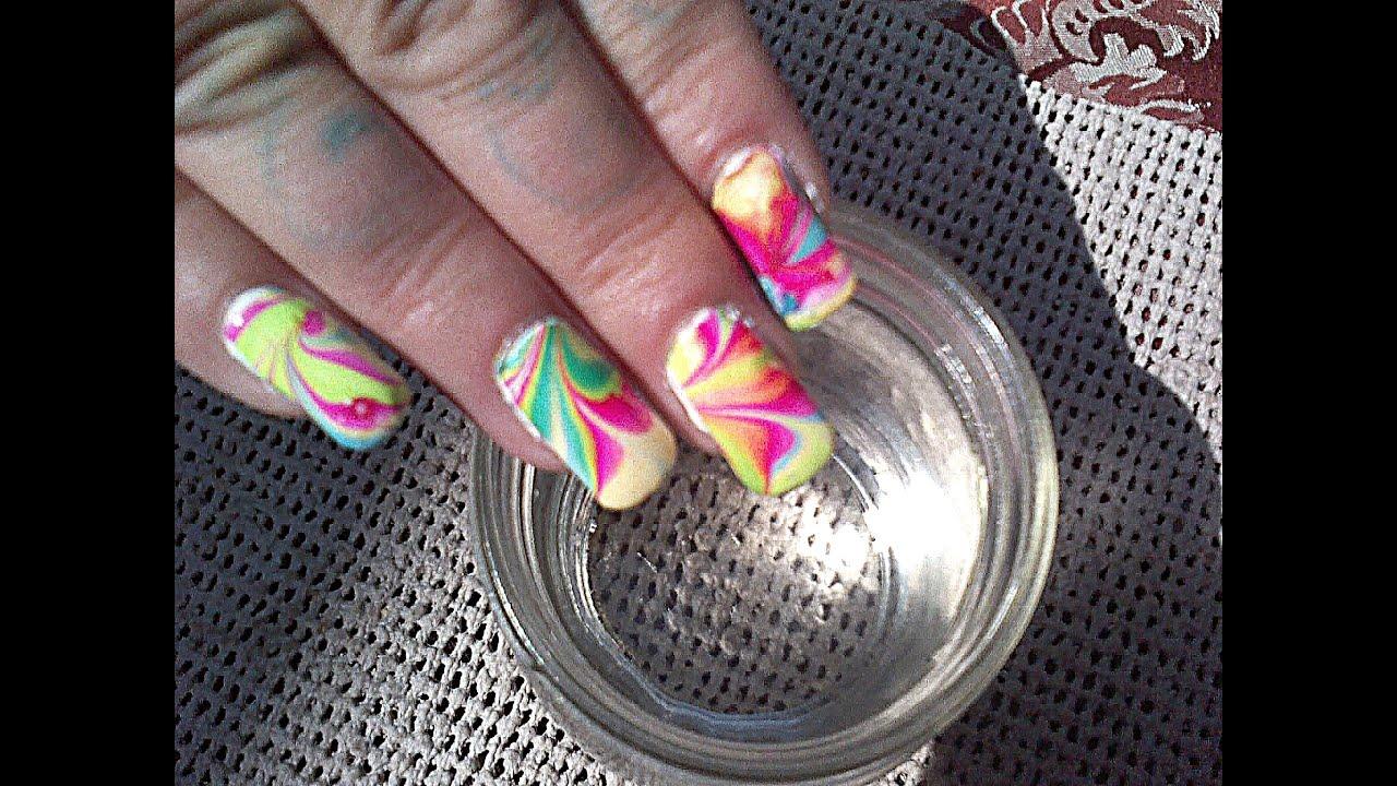 water marbling - 3 min nail art