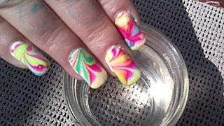 Water Marbling - 3 MIN Nail Art Tutorial - Tie-Dye Nails By Fonda