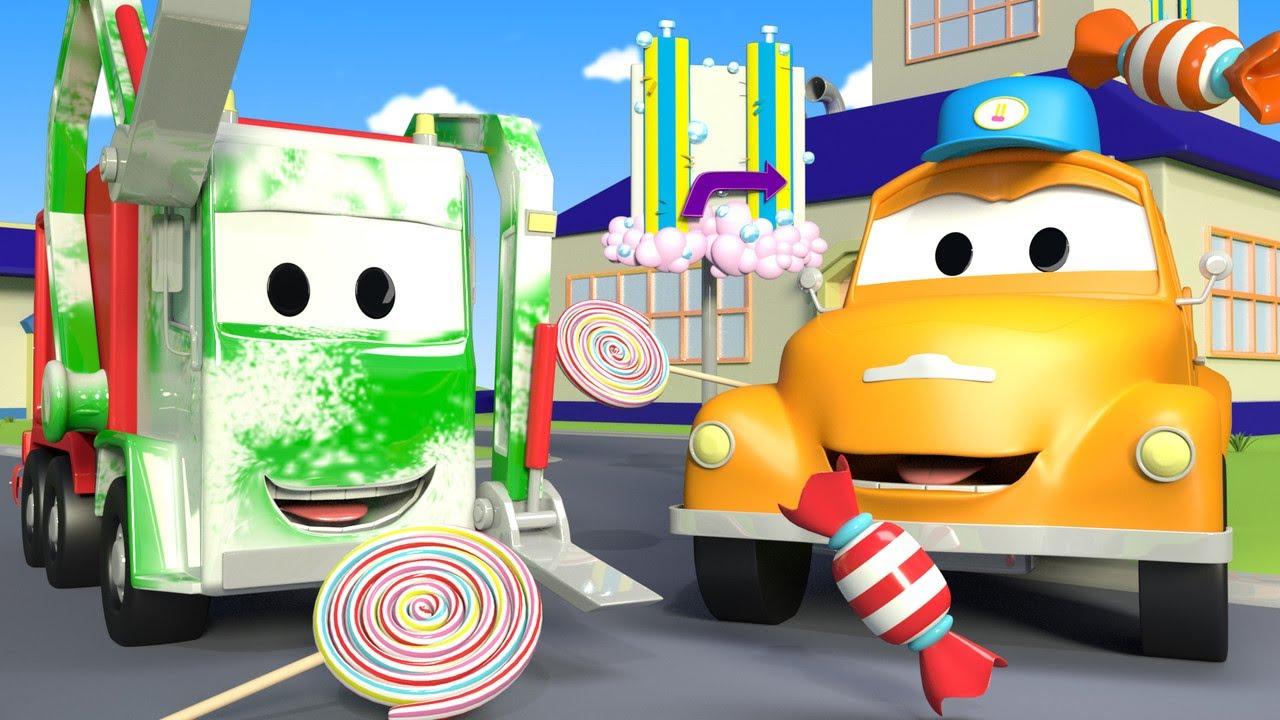 Tiệm rửa xe cho trẻ em - Xe chở rác Gary và những viên kẹo - Thành phố xe