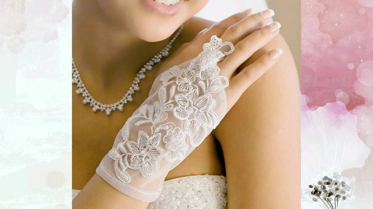 свадебные перчатки кружевные белые посылка покупка с китая .