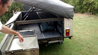 Camper Trailer Fridge and draw slide kitchen set up.