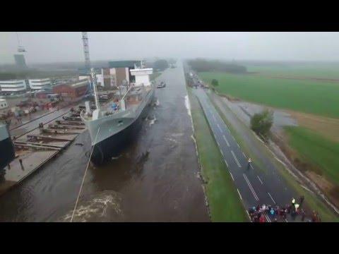 M.V. GREENLAND Launch   Stapellauf   Tewaterlating by DJI Phantom 3 Drone @ Ferus Smit