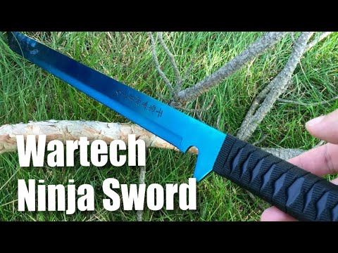 "Wartech K1020-60-BL 27"" 18"" 440 Stainless Steel Full Tang Blue Ninja Hunting Machete Knife Sword Set"