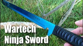 """Wartech K1020-60-BL 27"""" 18"""" 440 Stainless Steel Full Tang Blue Ninja Hunting Machete Knife Sword Set"""