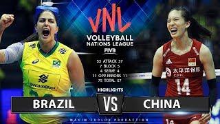 Brazil vs. China | Highlights | Women's VNL 2019