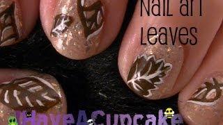 Simple Leaf Nail Art