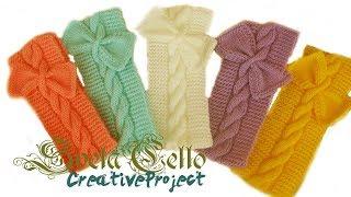 Knitted headband with bow for girl ||Вязанная повязка на голову c бантом