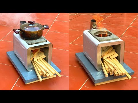 Download Make  Firewood Stove at Home - How To Make  Firewood Stove with Cement and Iron Barrels