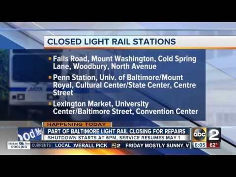 Part of Light Rail in Baltimore shutting down this weekend