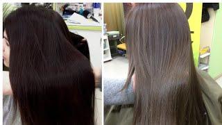 окрашивание волос из темного в холодный русый