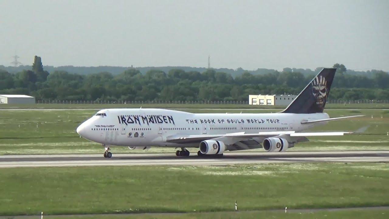 landing iron maiden ''ed force one'' at düsseldorf airport - youtube