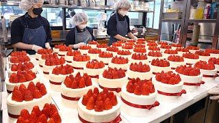 하루 150개씩 팔리는 케이크? 딸기폭탄 넣어주는 주문폭주 딸기케이크┃Strawberry cake mass making process  Korean street food
