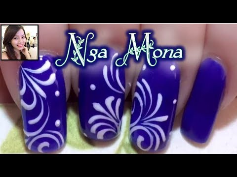 Vẽ hoa văn bằng cọ râu || Nga Mona || Beautiful Nail