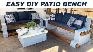 DIY- EASY Cinderblock Bench using NO POWER TOOLS
