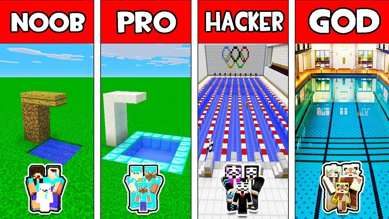 Minecraft - NOOB vs PRO vs HACKER vs GOD : FAMILY SWIMMING POOL in Minecraft Animation