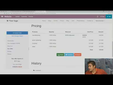 Odoo Tutorial: Quotation Templates And Sending Online Quotations