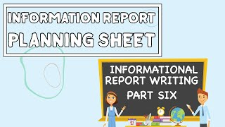 Report Writing Planning Sheet // Informational Report Writing PART SIX