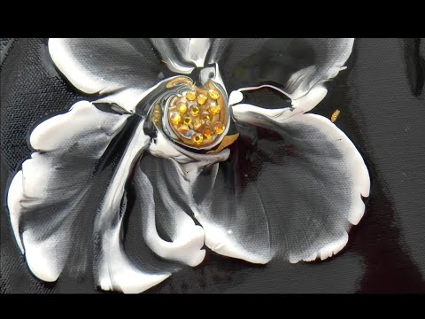 Цветок со стразами/ Flower With Gemstones. Интересная и очень легкая техника создания цветка. Inlay