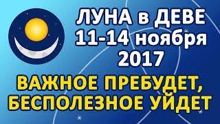 ЛУНА в знаке ДЕВА с 11 по 14 ноября 2017 года. Важное пребудет, бесполезное уйдет