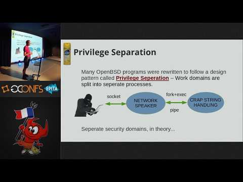 Hoisting: lessons learned integrating pledge into 500 programs, by Theo de Raadt (EuroBSDcon 2017)