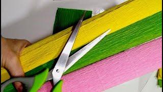 4 Идеи поделок из БУМАГИ КРЕПИРОВАННОЙ своими руками.Подарки.Украшения для дома.Цветы из бумаги DIY