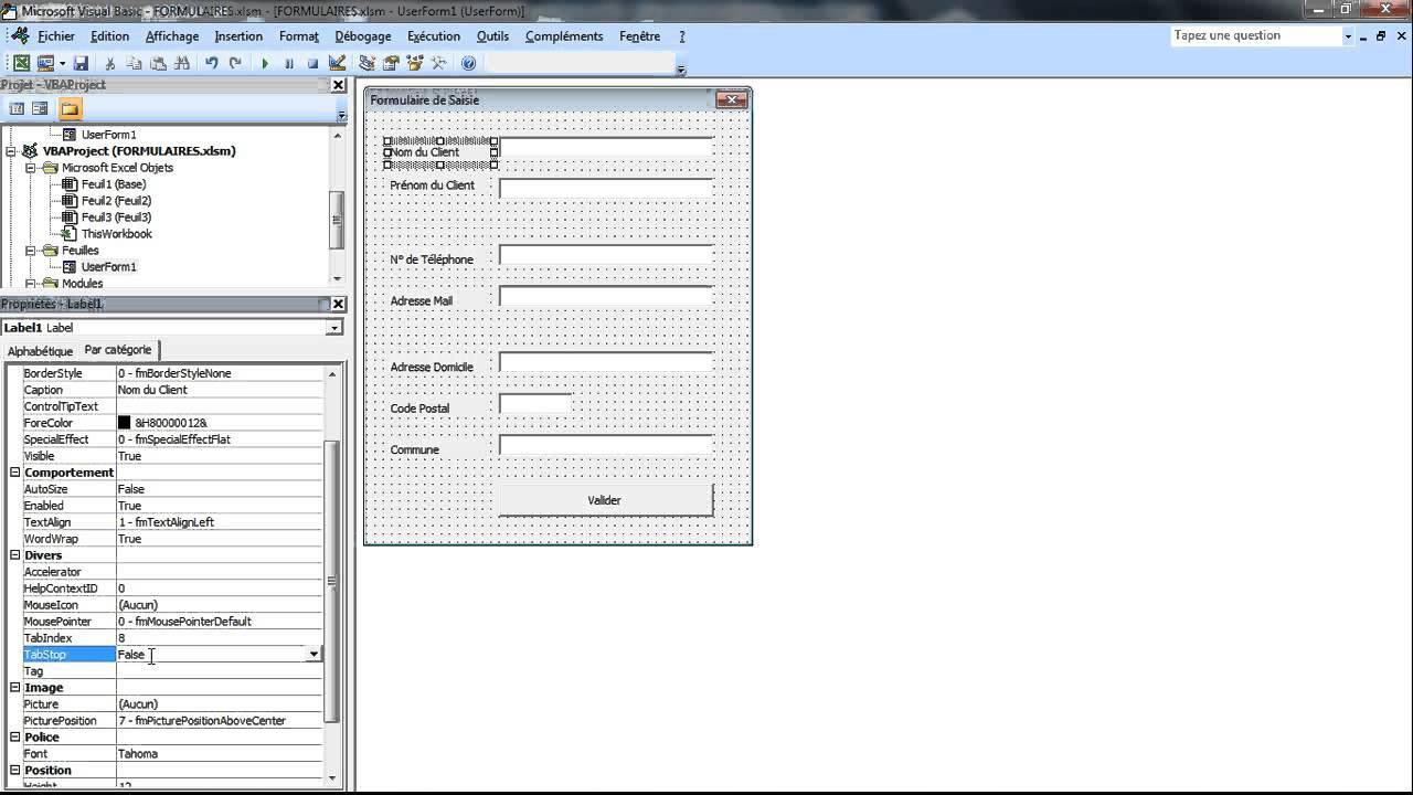 Cr er un formulaire personnalis sur excel avec vba - Ouvrir document open office avec word ...