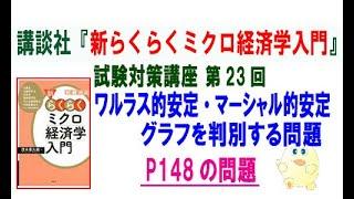 洋泉社「新らくらくミクロ経済学入門 第2版」試験対策講座 第23回「P148のワルラス的安定・マーシャル的安定のグラフの問題」講師:茂木喜久雄