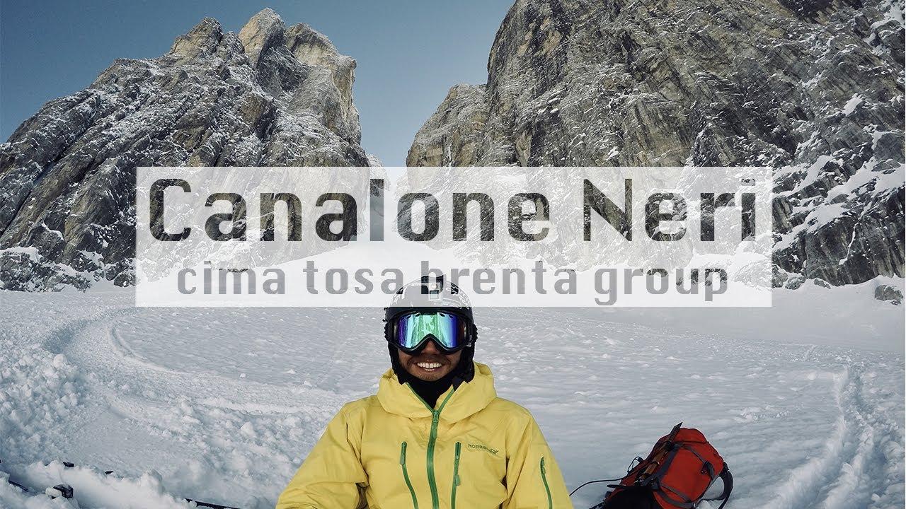 Cima tosa canalone neri in white powder -  sci ripido - steep skiing madonna di campiglio
