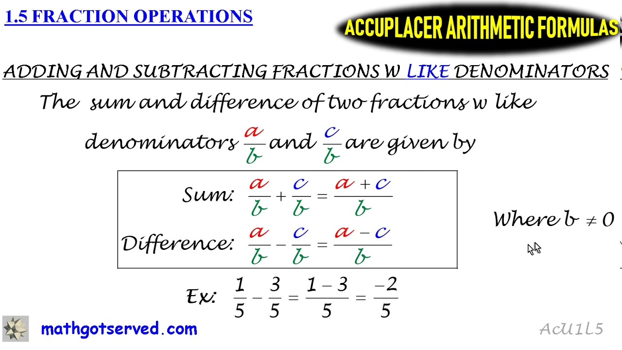 1 5 Accuplacer Arithmetic Must Know Formula Formulas ...