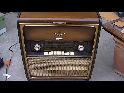 Grundig 7000 consolette radio repair restoration Resurrection reparations restringing dial cord