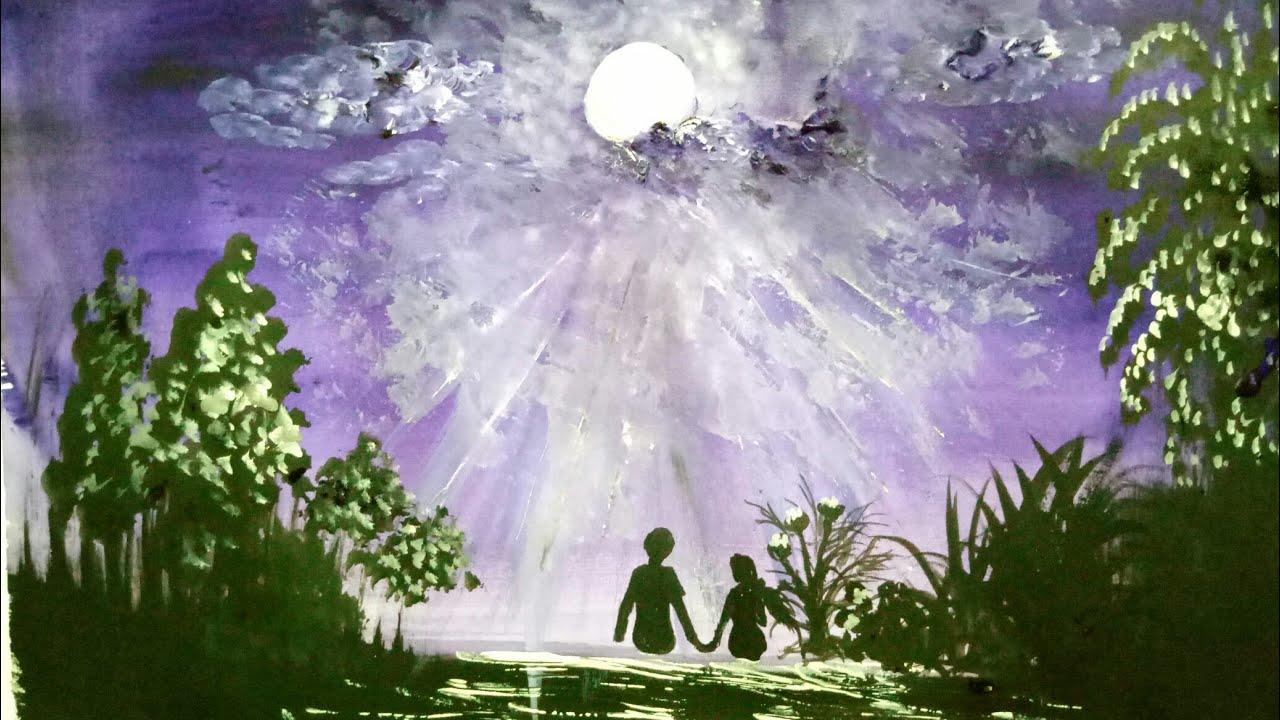 Vẽ tranh màu nước đơn giản mà đẹp / vẽ bầu trời đêm / vẽ đôi tình nhân ngắm trăng
