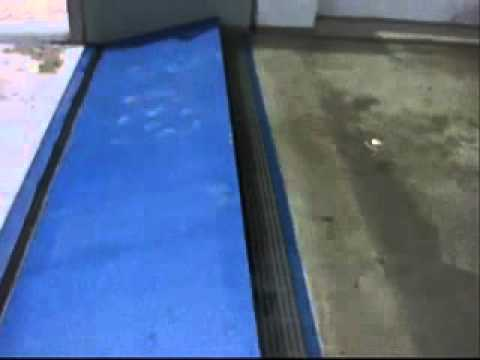 FloodBreak Automatic Floodgate - passive flood barrier system demonstration.wmv