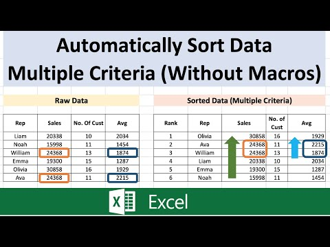 Excel Tutorial -  Automatically Sort Data based on multiple columns without using macros thumbnail