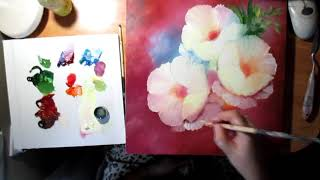 Цветы масляными красками под витражную роспись.