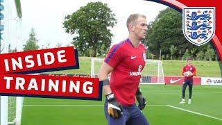 England goalkeeping session with hart, butland, heaton and woodman | inside training