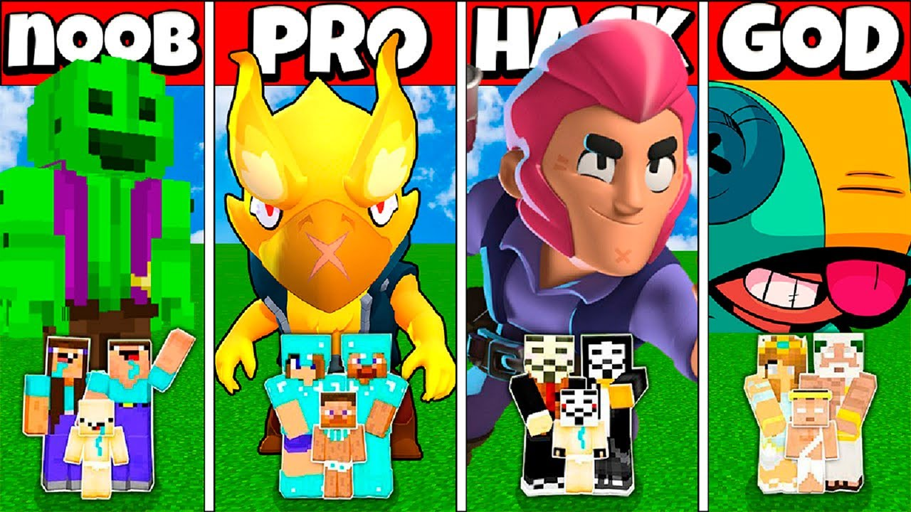 Minecraft Battle: FAMILY BRAWL STARS HOUSE BUILD CHALLENGE NOOB vs PRO vs HACKER vs GOD - Animation