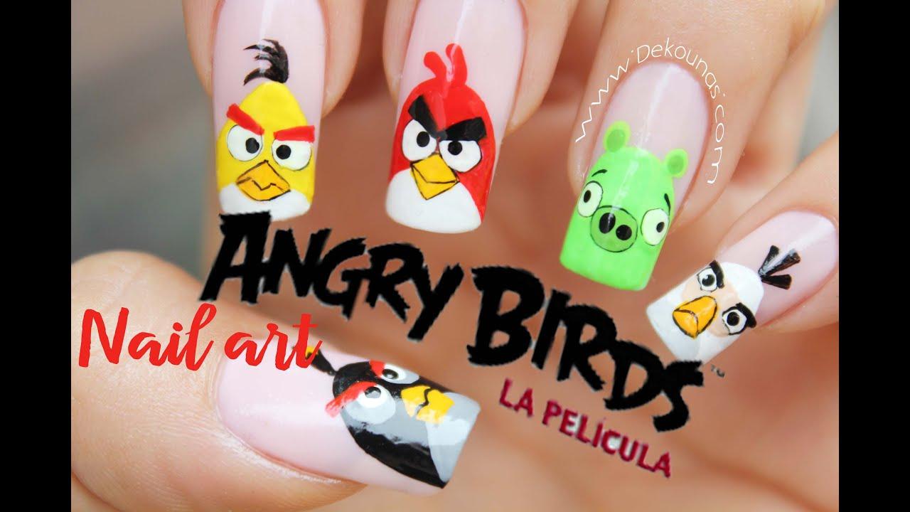 Decoración de uñas Angry birds - Angry birds nail art tutorial - YouTube