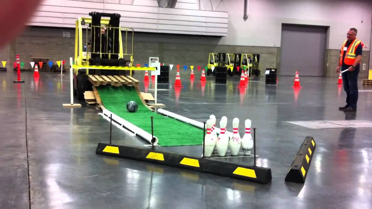 When A Forklift Goes Bowling Youtube