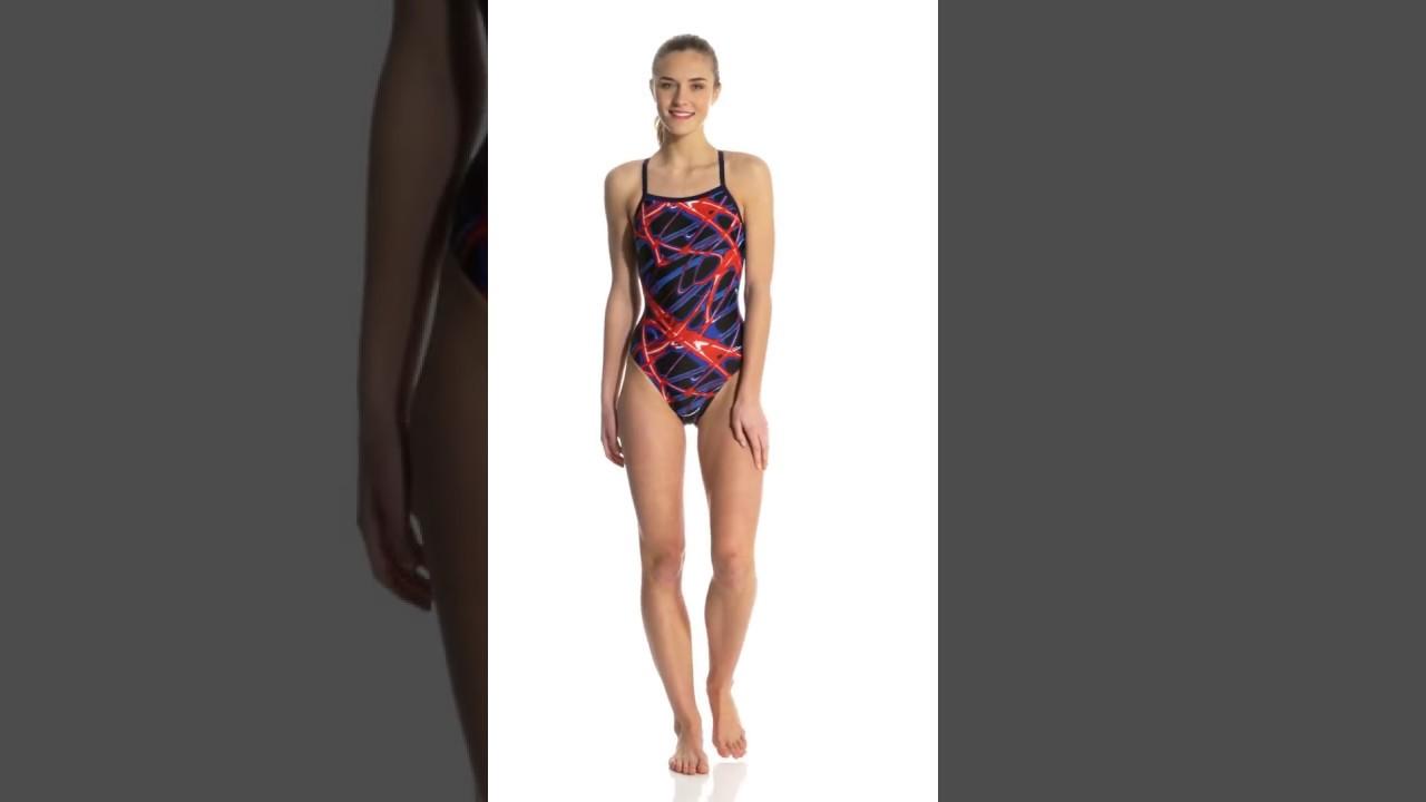 9107d5cf3 SwimOutlet Exclusive Waterpro Lightning Thin Strap One Piece Swimsuit    SwimOutlet.com