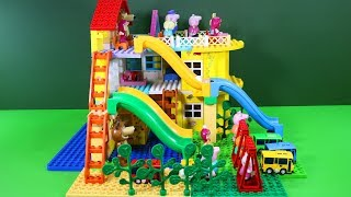 Peppa Pig Blocks Mega House Construction Lego Sets With Water Slide Creative Toys For Kids #3