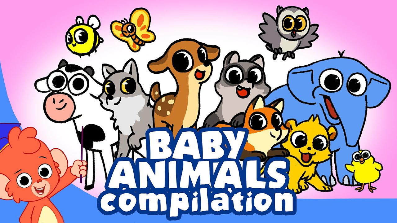 Learn Animals For Kids Animal Babies Cartoon For Children Newborn Animal Cartoons Youtube