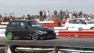 my starlet glanza v turbo vs 1.6 civic turbo. glanza wins. york dragway