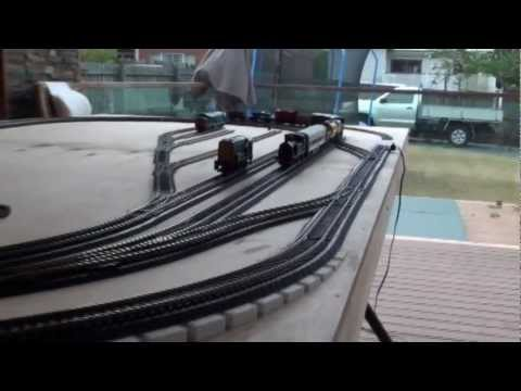 8 X 4 HO Model train layout with flyover (Part 1)