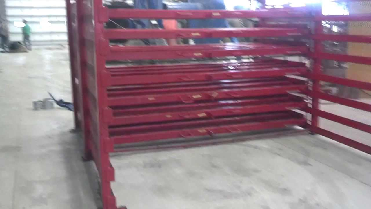 Sheet steel rack holds 60  x 120  steel with 7 roller drawers FOR SALE - YouTube & Sheet steel rack holds 60